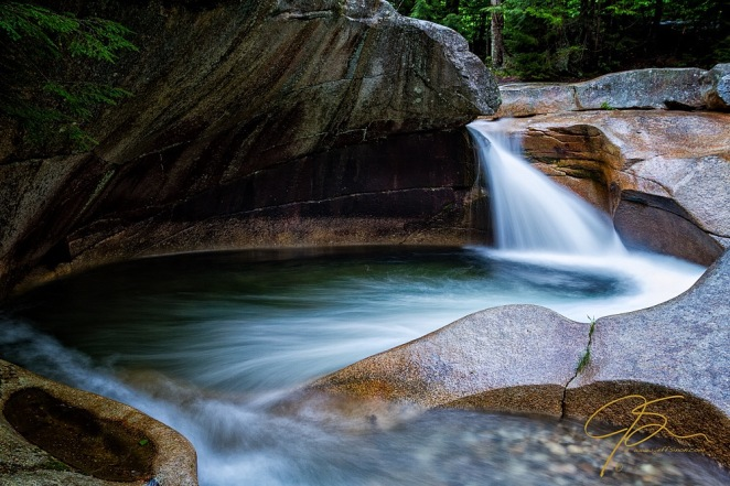 Long exposure image of The Basin, Franconia, NH