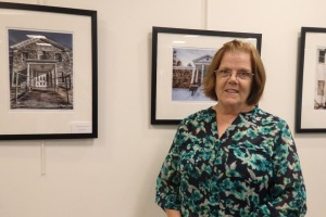 Photographer Lynn Ronan with two of her pictures